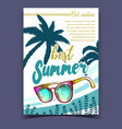 sunglasses seaweed and palm leaves banner vector image
