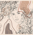 trend background lines woman face female vector image vector image