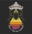 ufo take sunset retro vector image vector image