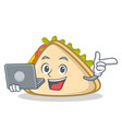 with laptop sandwich character cartoon style vector image vector image