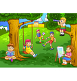 a kids playing in garden vector image vector image