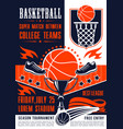 basketball college team match poster vector image vector image