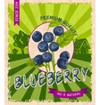 Blueberry retro poster vector image vector image