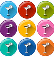 Buttons with wineglasses vector image vector image