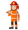 cartoon firefighter holding an axe vector image vector image