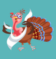 cartoon thanksgiving turkey character in napkin vector image vector image