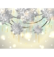 Christmas Horizontal Card with silver snowflakes vector image vector image