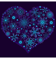 Christmas snow heart with glowing snowflakes vector image vector image