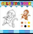 coloring book monkey holding banana cartoon vector image vector image