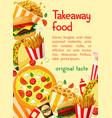 fast food poster takeaway restaurant menu vector image vector image