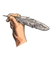Female hand holding a goose feather black vector image vector image