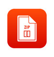 file zip icon digital red vector image vector image