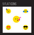 flat icon gesture set of happy cold sweat love vector image vector image