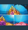 four scenes under the ocean vector image vector image