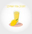 glass of bio fresh lemon juice vector image vector image