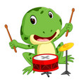 green frog playing drum vector image vector image