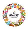 grocery store banner food drinks set icons vector image vector image