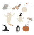 halloween icons set cute ghosts magic book vector image
