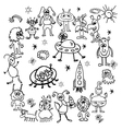 hand drawn cartoon sketch of monsters vector image vector image