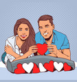 happy couple holding red heart smiling man and vector image vector image