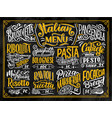 italian food menu - names of dishes lettering vector image vector image