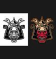 japanese demon samurai in helmet vector image vector image