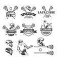 labels lacrosse club monochrome vector image vector image