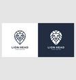 lion head mono line logo vector image vector image