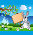 meadow with bunny holding board vector image