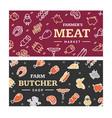 meat butchery banner horizontal set vector image