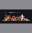 merry christmas banner luxury gold winter city vector image