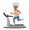 modern old woman doing cardio exercises on a vector image