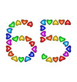number 65 sixty five of colorful hearts on white vector image