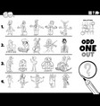 odd one out people character picture coloring vector image vector image