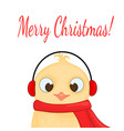owl in the santa claus hat headphones and scarf vector image vector image