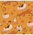 pattern with cats flowers and leaves autumn mood vector image vector image