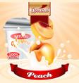 peach yogurt ads splashing scene with package and vector image vector image