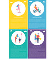 people in park resting cartoon poster set vector image vector image