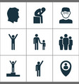 person icons set with depression rejoicing pupil vector image