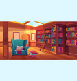 place for reading books home library interior vector image vector image