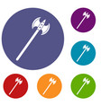 poleaxe icons set vector image vector image