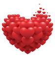 red hearts on heart shape symbol of love vector image