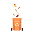 rubbish orange bin with organic falling waste and vector image vector image