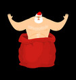 santa claus stripper from open red bag christmas vector image vector image