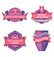 set logo pink retro labels and vintage vector image