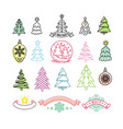 set of christmas trees and christmas decorations vector image