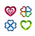 set of heart icon in ribbon style vector image