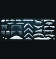 set snowdrift and icicle snow cap and snowball vector image