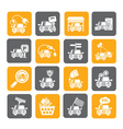 Silhouette Car and road services icons vector image