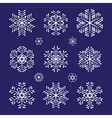 sketch white snowflakes set vector image